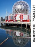 Small photo of FALSE CREEK, VANCOUVER, CANADA - OCTOBER 2017: 'Science World at Telus World of Science', British Columbia's famous science center and museum - reflections of the building over False Creek harbor.