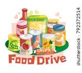 food drive non perishable food... | Shutterstock .eps vector #792372514
