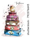 hand drawn fashion set with... | Shutterstock .eps vector #792376645