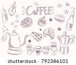 hand drawn set coffee vector... | Shutterstock .eps vector #792386101
