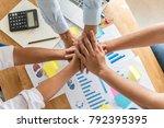 close up of business team... | Shutterstock . vector #792395395
