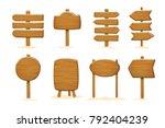 set of wooden  signboards .... | Shutterstock .eps vector #792404239