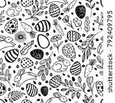 vector doodle easter seamless... | Shutterstock .eps vector #792409795