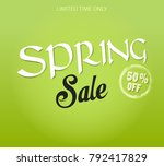 spring sale 50  off. template... | Shutterstock .eps vector #792417829