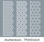 vector set of line borders with ... | Shutterstock .eps vector #792431614
