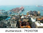 View on Colombo harbor from WTC Colombo. Sri Lanka - stock photo
