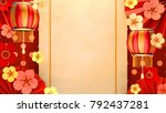 chinese new year greeting card. ... | Shutterstock . vector #792437281
