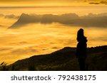 sunrise and mist on mountain ... | Shutterstock . vector #792438175