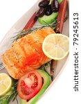 healthy food  hot baked salmon... | Shutterstock . vector #79245613
