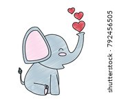 cute little elephant with hearts | Shutterstock .eps vector #792456505