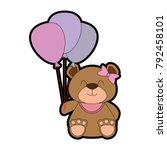 cute bear teddy with balloons... | Shutterstock .eps vector #792458101