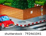 scene with street in the rain... | Shutterstock .eps vector #792461041