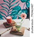 pink latte and matcha latte...   Shutterstock . vector #792462487