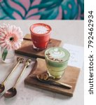 pink latte and matcha latte... | Shutterstock . vector #792462934