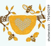 bees flying around the hive... | Shutterstock .eps vector #792465259