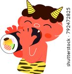 laughing red demon eats... | Shutterstock .eps vector #792472825