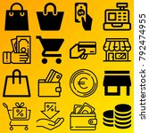 shopping vector icon set... | Shutterstock .eps vector #792474955