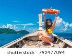 happy traveler asian woman in... | Shutterstock . vector #792477094