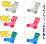 dirty stinky socks set.eps this ... | Shutterstock .eps vector #792485629