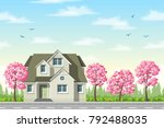 classic house with flowering... | Shutterstock .eps vector #792488035