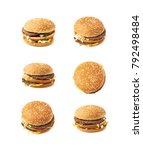 meat and cheese burger isolated ... | Shutterstock . vector #792498484