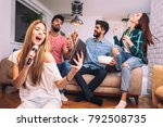 group of friends playing... | Shutterstock . vector #792508735