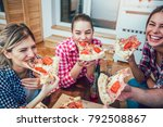 group of young friends eating...   Shutterstock . vector #792508867