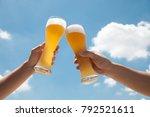 glasses  of beer with sky | Shutterstock . vector #792521611