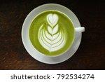 a cup of green tea matcha latte ... | Shutterstock . vector #792534274