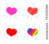 pink red and rainbow heart with ... | Shutterstock .eps vector #792535585
