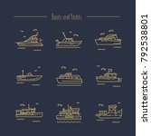 set of contour icons of naval... | Shutterstock .eps vector #792538801