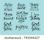 set of 9 hand lettering... | Shutterstock .eps vector #792544327