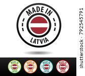 made in latvia badges with flag.... | Shutterstock .eps vector #792545791