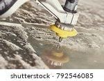 hydroabrasive treatment.... | Shutterstock . vector #792546085