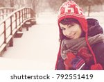 smiling beautiful woman with... | Shutterstock . vector #792551419