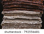 a stack of striped fabric.... | Shutterstock . vector #792556681
