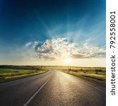 asphalt road in sunset | Shutterstock . vector #792558001