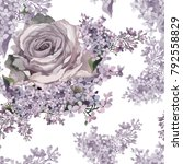 lilac and rose watercolor on... | Shutterstock . vector #792558829