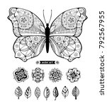 butterfly and flowers. set... | Shutterstock .eps vector #792567955