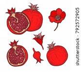 set of red pomegranate fruit ... | Shutterstock . vector #792572905