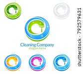 cleaning service vector logo... | Shutterstock .eps vector #792579631