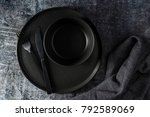black table setting a new style ... | Shutterstock . vector #792589069