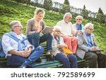 group of senior people resting... | Shutterstock . vector #792589699
