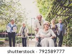 group of senior people with... | Shutterstock . vector #792589777