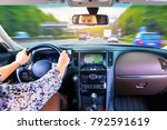young business woman driver... | Shutterstock . vector #792591619