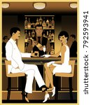 Couple in bar in the style of the early 20th century. Retro party invitation card. Handmade drawing vector illustration. Art Deco style.
