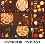 set of banners with pizza... | Shutterstock . vector #792598795