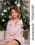 beautiful fashion model wearing ... | Shutterstock . vector #792601087