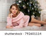 beautiful fashion model wearing ... | Shutterstock . vector #792601114