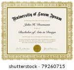vector ornate diploma with... | Shutterstock .eps vector #79260715